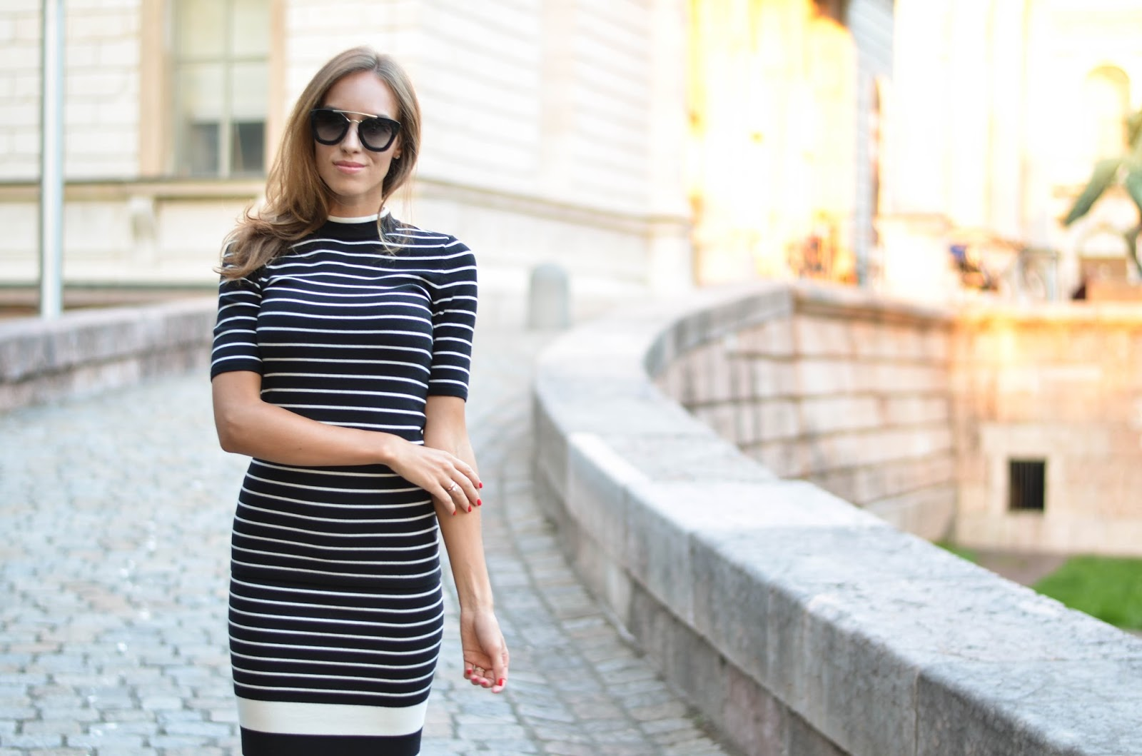 kristjaana mere fall fashion outfit black white striped knitted dress