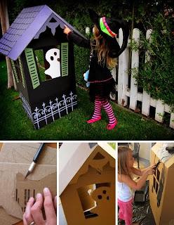 Casinha de bruxa feita em papelão