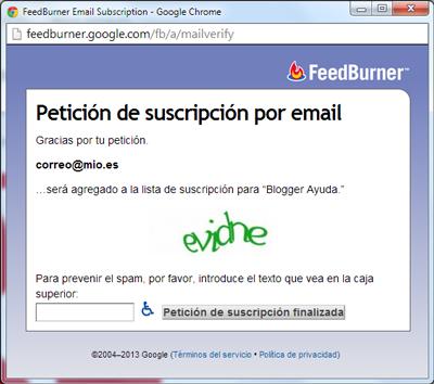 Petición de suscripción por email en español