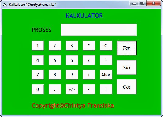 Contoh Program Kalkulator Menggunakan Pemograman Visual Basic 6.0