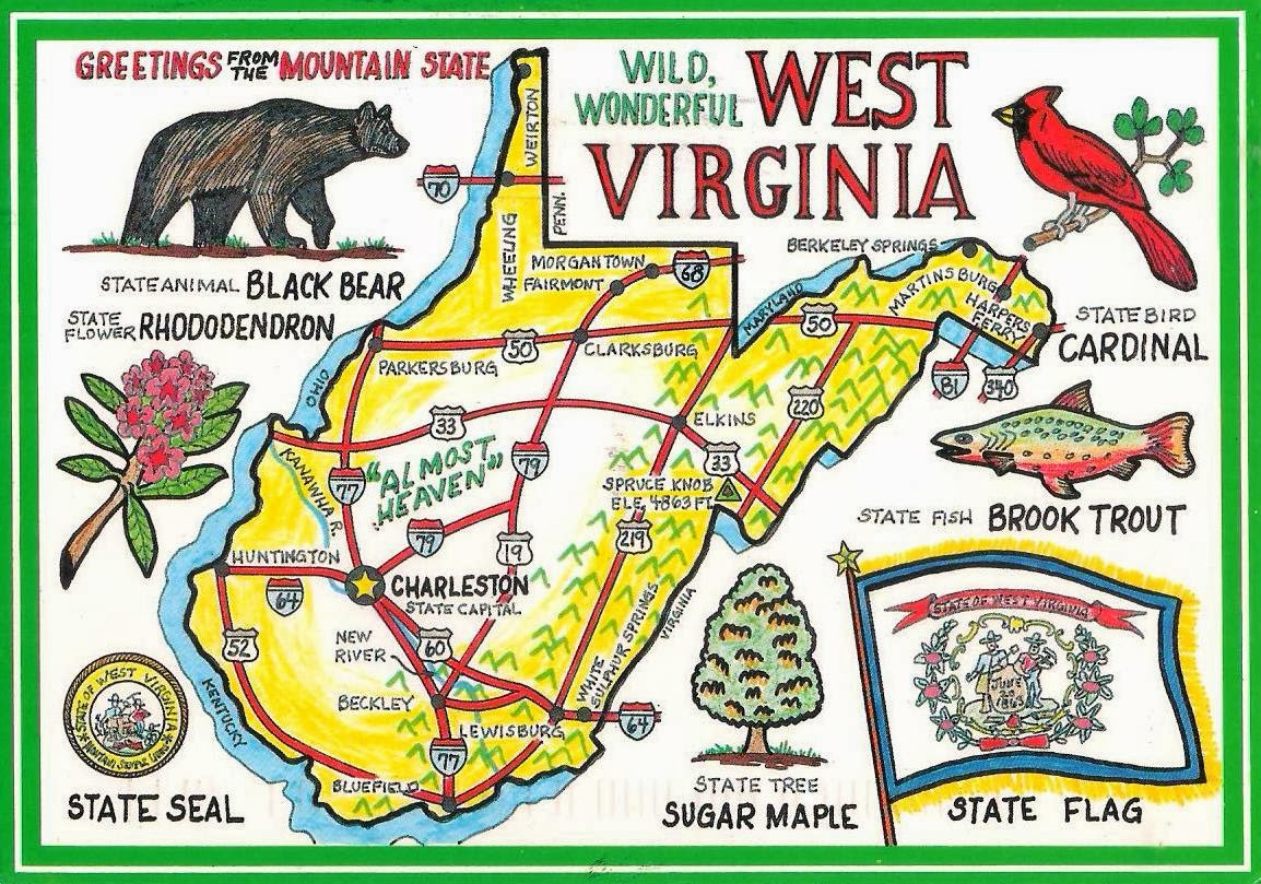More POSTCARDS  STAMPS USA Map West Virginia - Usa map west virginia