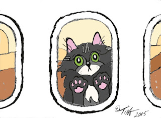 "'Fraidy Gets Back on  the Airplane"" 5:7 digital art, ©2015 Tina M Welter, Cartoon drawing, grey and white cat, paws against the airplane window."