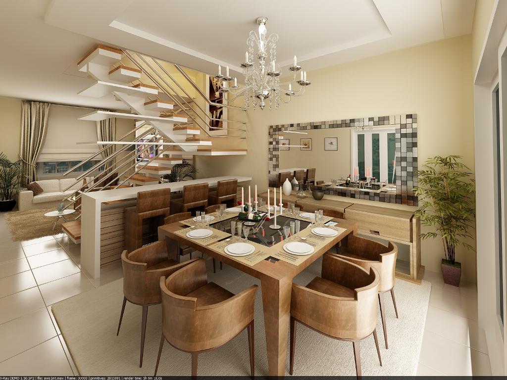 Construindo minha casa clean 21 salas de jantar dos for Sala de estar rustica y moderna