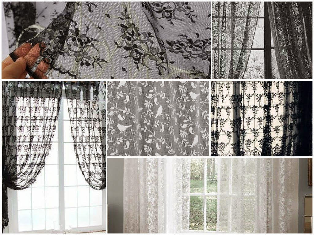 curtains black and white
