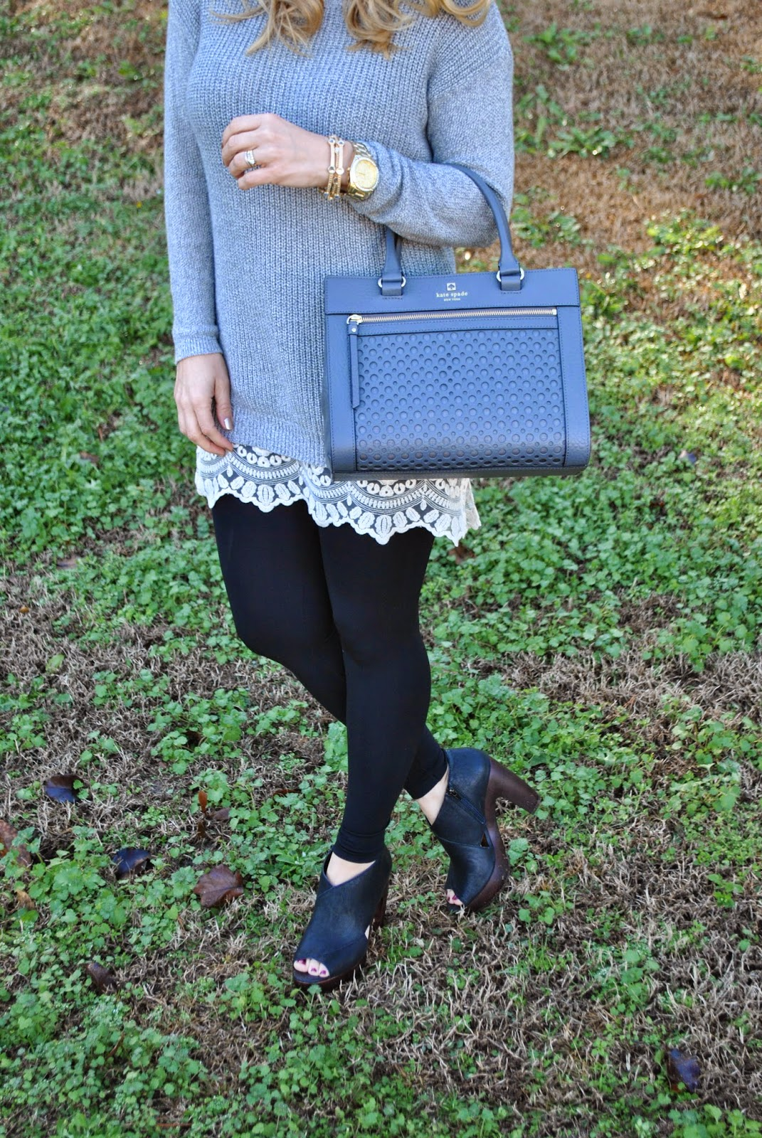 Loft Lace Sweater Kate Spade Handbag Lucky Brand Clogs Leather and Lace Date Night