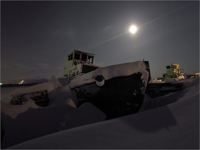 Таймыр, Норильск, фото, река Норилка, Норильская, мост, зима, снегоход.