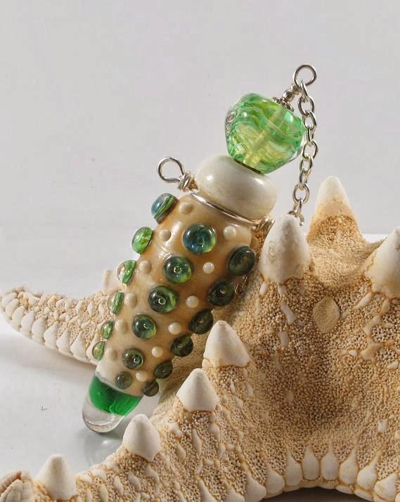 handmade lampwork beads perfume bottle vessel