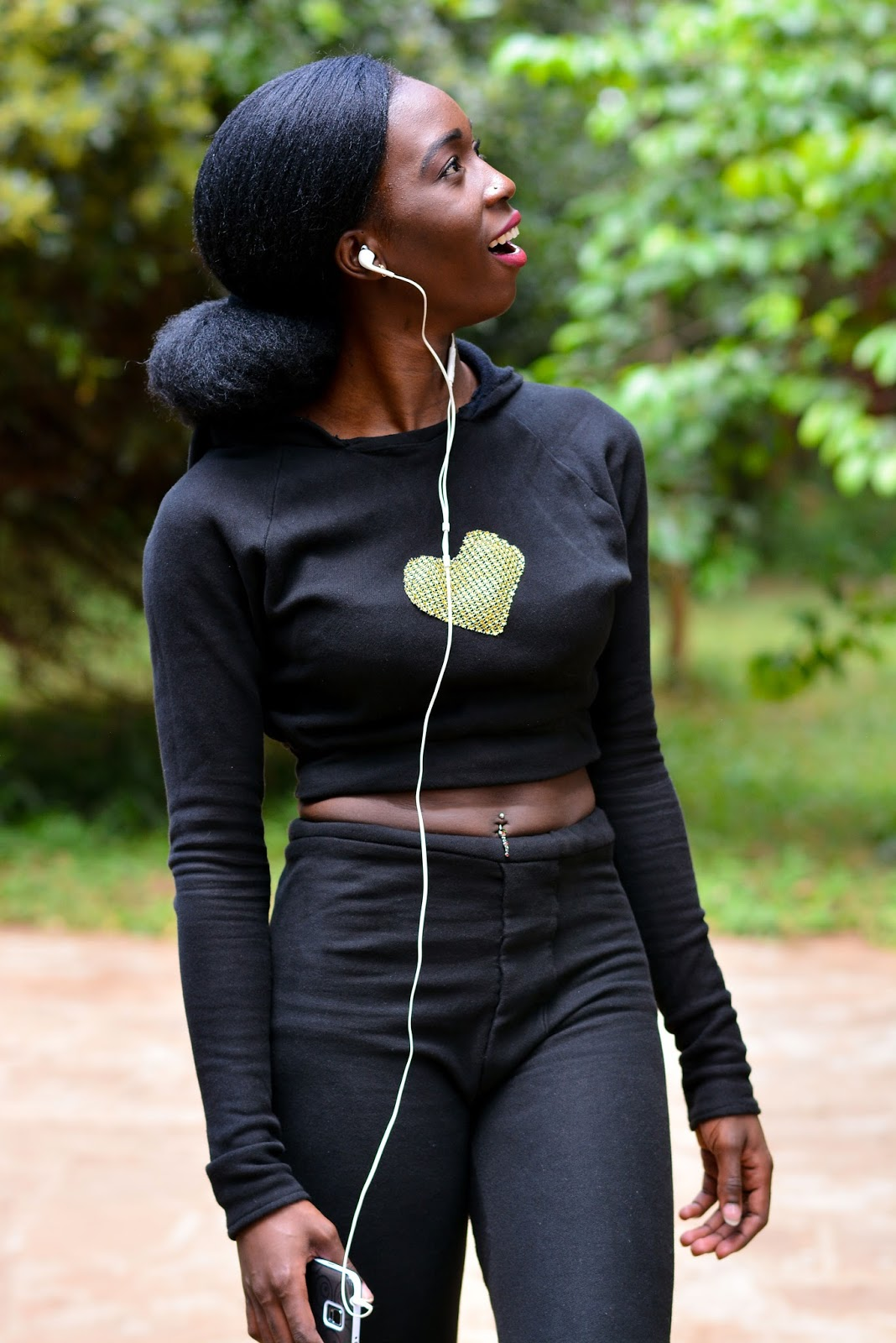 style with Ezil, Ezil, what to wear for a morning walk, crop hoodie, fitting sweats, importance of work out clothes, Kenyan fashion blogger, African fashion blogger.