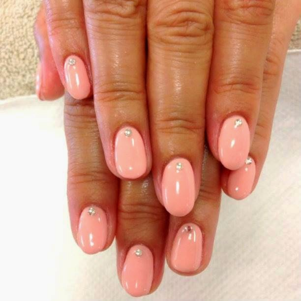 Acrylics, back-fills, Shellac manicure overs stone feats lovely pink