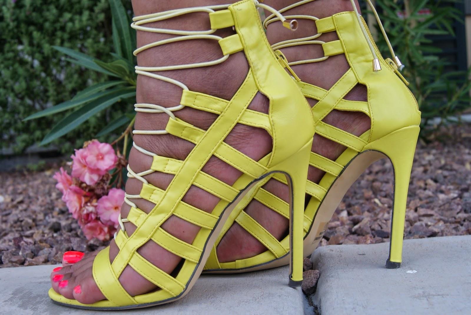 gladiator heels, neon heels, summer heels, allthingsslim