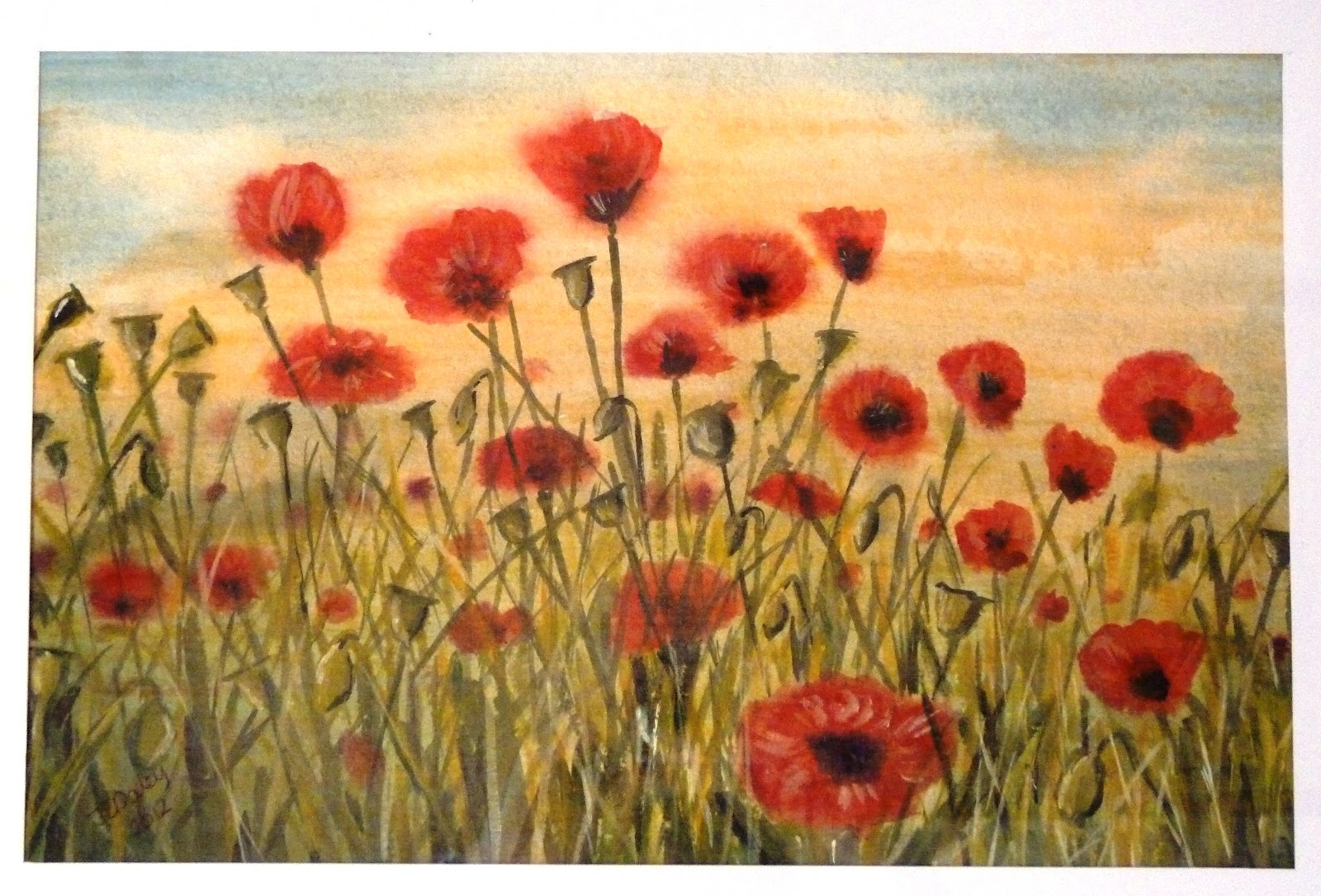 Janet Daley Poppies 2 Acrylic Painting On Watercolour Paper For