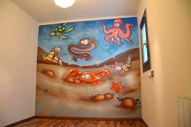 Berok graffiti mural profesional en barcelona murales - Mural pared infantil ...