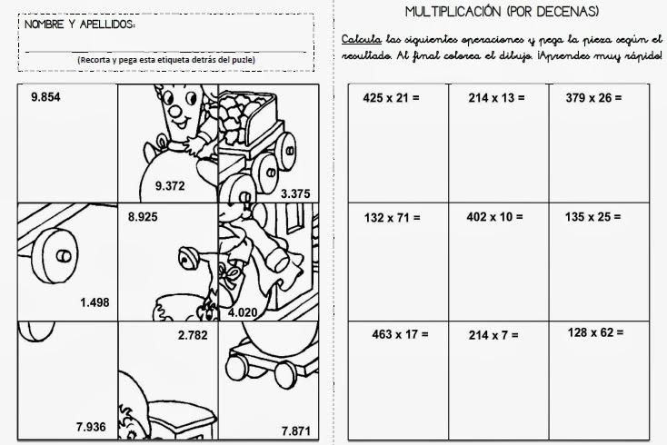 Perfecto Hojas Del Rompecabezas De Multiplicación Ideas - hojas de ...