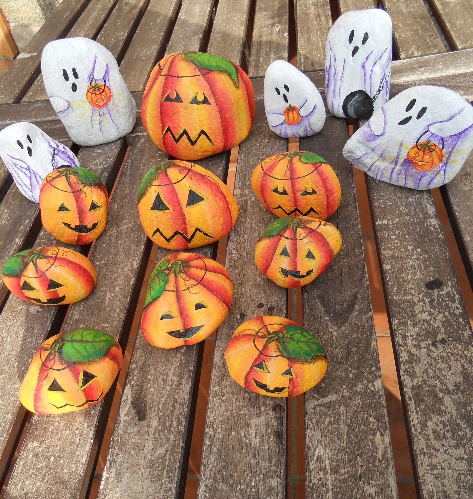 Piedras pintadas a mano piedras pintadas halloween - Calabazas de halloween pintadas ...