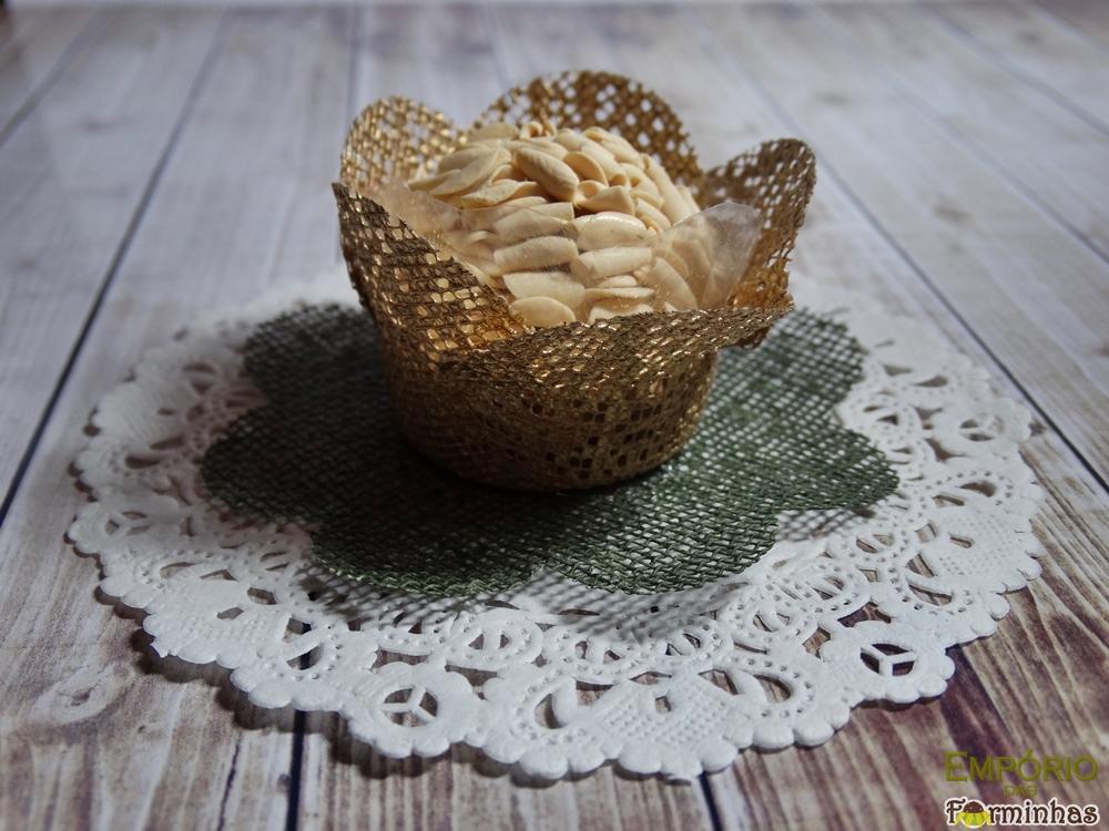 Forminhas flor com base de tela