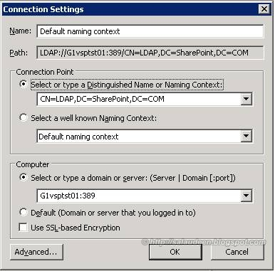 Connect to AD LDS Server using ADSI Edit - Properties