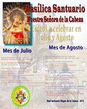 NOVENA Y APARICIÓN. CULTOS JULIO Y AGOSTO 2015