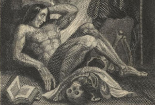 Vintage Frankenstein illustration from New York Public Library Biblion website