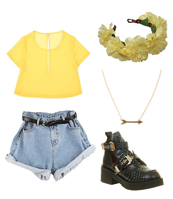 summer outfit, uk fashion style, yellow crop tee t-shirt with cut vintage denim shorts, jeffrey campbell snake skin looking chunky boots, roses and clementines yellow floral crown, floral garland, flower headband, gold arrow necklace