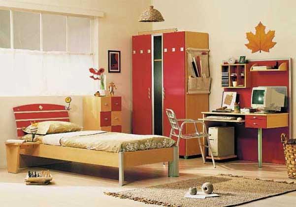 غرفة نوم اطفال باللون الاحمر