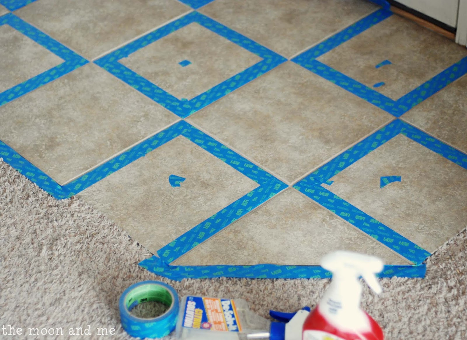 The Moon and Me: Painting a Tile Floor ~ Tips and Grumbles