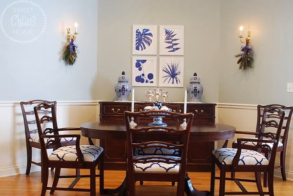we started by recovering the dining room chairs with a blue and white geometric fabric - How To Recover Dining Room Chairs