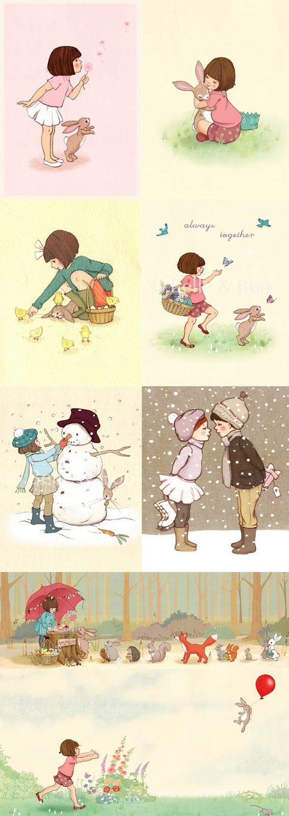 Belle e Boo ilustrações fofas