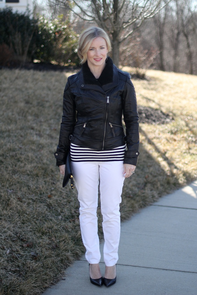 spring 2013 trend, black and white trend, Gap, leather jacket, Michael Kors, Nine West, pearls, Prada, Simply Lulu Design, Simply Lulu Style, stripe trend, Urban Expressions, Victoria's Secret,