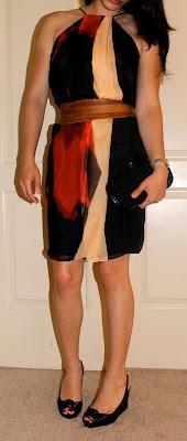 Petite wedding guest outfit Robert Rodriguez dress, Louboutin heels, and Bottega Veneta knot clutch