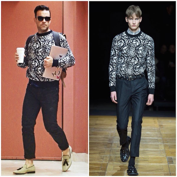 Robbie Williams wears Dior Homme by Kris Van Assche Fall Winter 2014 circular patterned black white sweater at Beverly Hills 4th November 2014