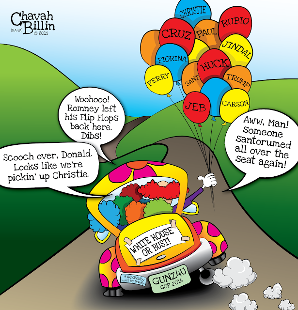Republican Candidates 2016 GOP Clown Car Cartoon Editorial Cartoon