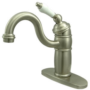 Kingston Brass KB1488PL Single Hole Bar Faucet With Porcelain Lever Handle - Satin Nickel