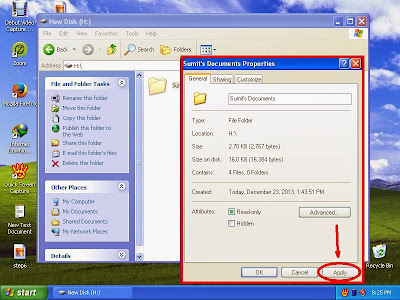 Learn how to unhide files and folders in windowsXP step9