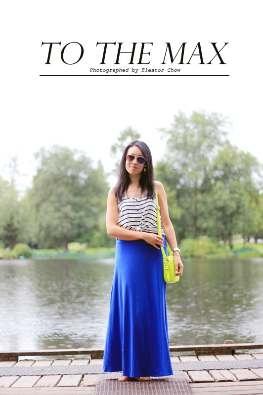 J. Crew neon mini cross body bag, Bobeau cobalt maxi skirt, Nordstrom, H&M striped tank, stripes, neon, cobalt, summer, summer fashion, maxi dress, Sam & Libby for Target, H&M mirrored aviator sunglasses, delicate rings, Michael Kors watch