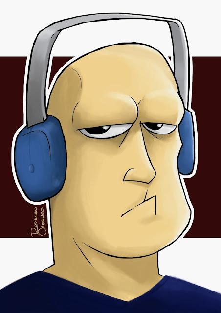 Desenho de um homem ouvindo música com fones de ouvido