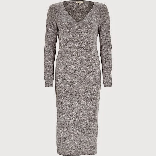 grey v neck dress long sleeve