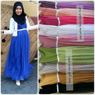 2 piece long dress putih