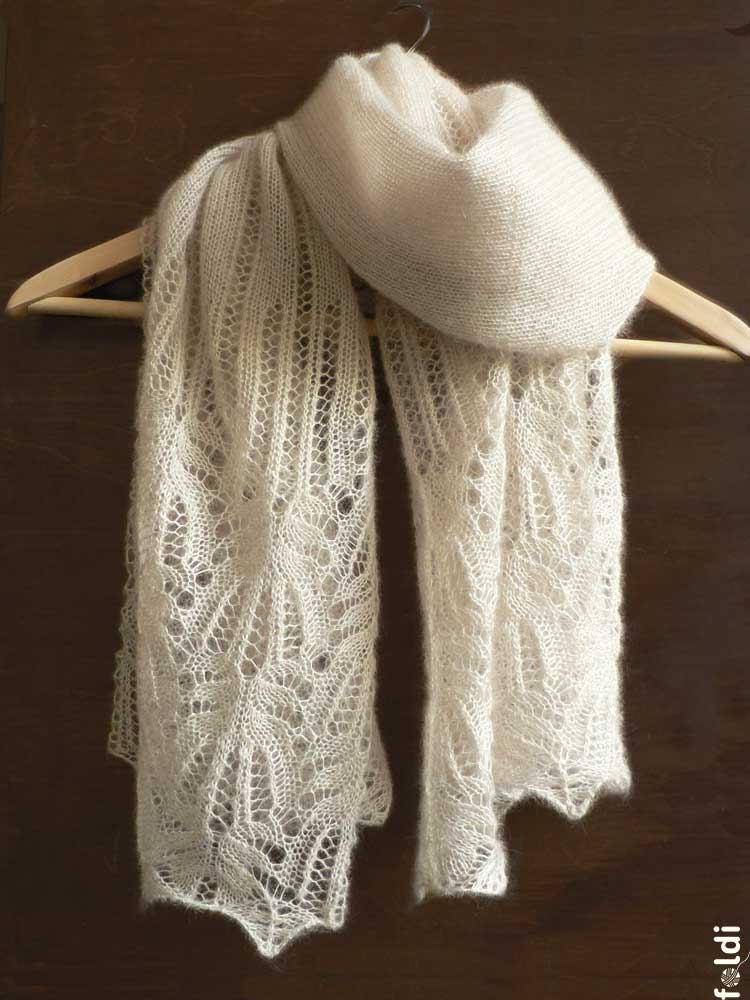 Knitted Lace Pattern : foldi: Frost flower lace shawl - free machine knitting pattern