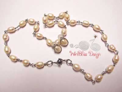Wire wrap pearl necklace and earrings