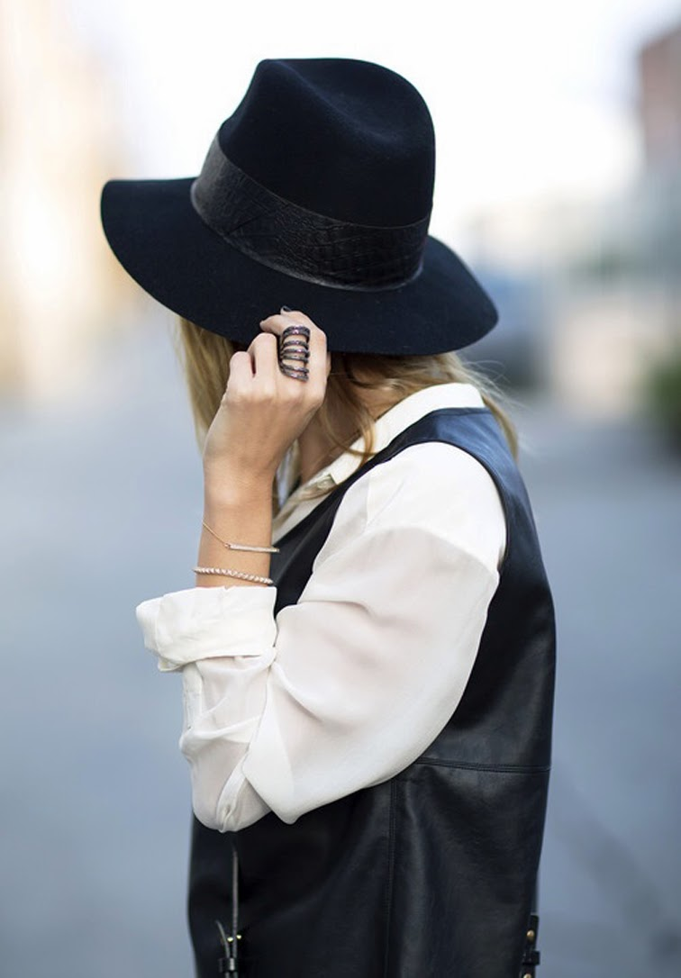 Wide brim hat armor ring street style