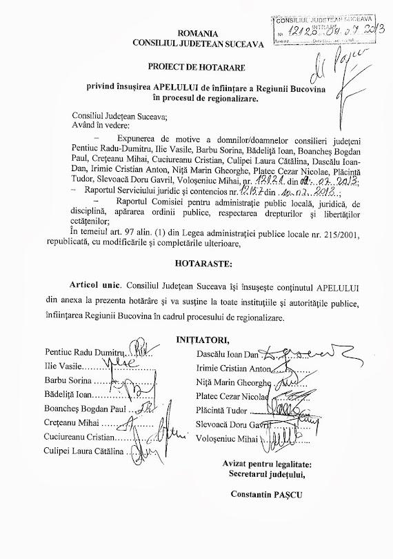 Apel pentru înfiinţarea Regiunii Bucovina - Consiliul Judeţean Suceava