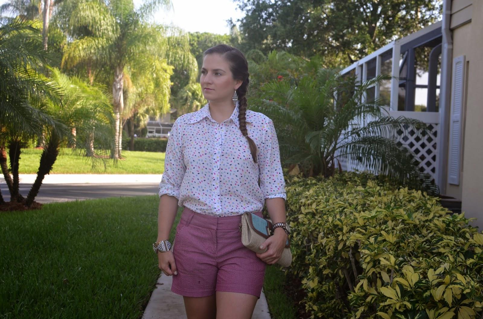 Seersucker shorts - #Emma_Sophia - backless top - straw clutch - espadrilles