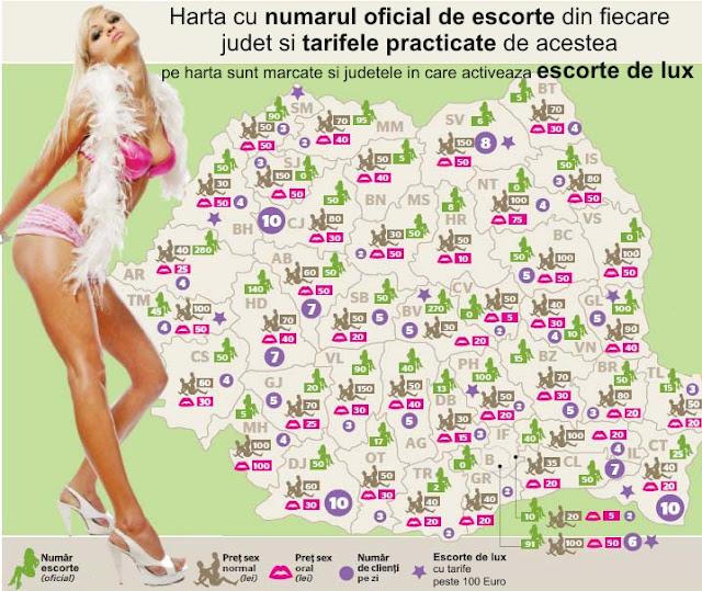 Harta cu numarul oficial de escorte si escorte de lux din Romania