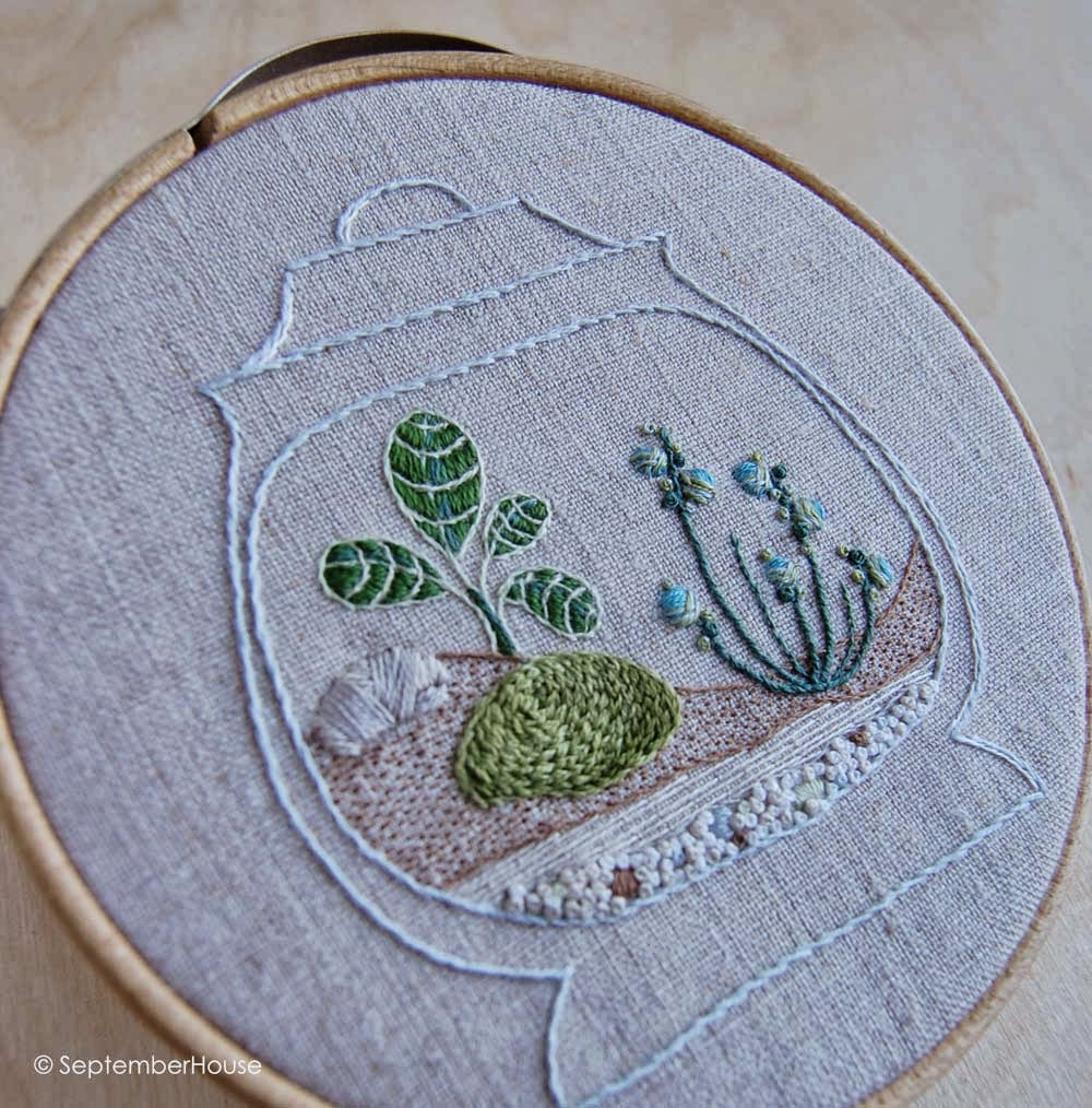 terrarium embroidery hand embroidery stitches DIY embroidery by septemberhouse