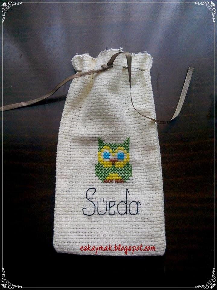 etamin, kese, nakış, embroidery, baykuş, owl, hediye, gift, kurdele, diy, handmade, do it yourself, craft,