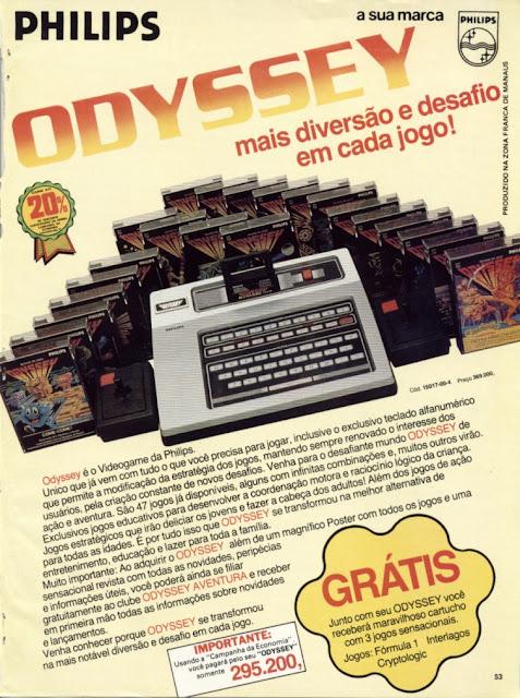 Propaganda do Vídeogame Odyssey apresentada em 1983. Philips foi a fabricante.