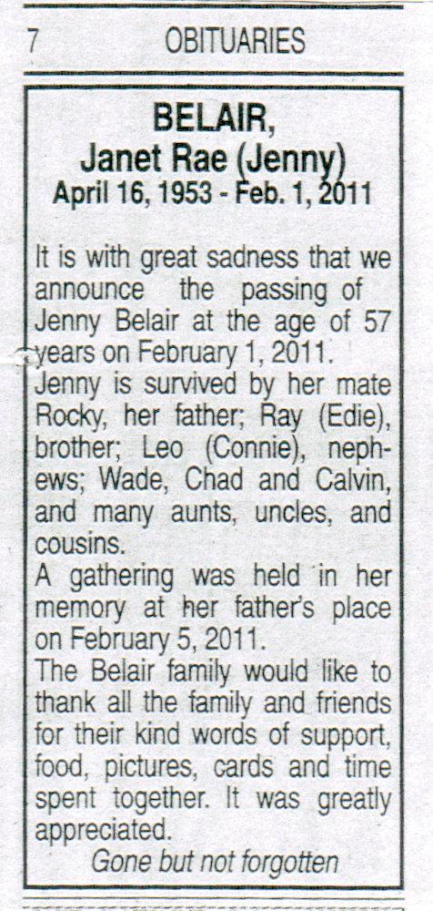 Jenny Belair obituary