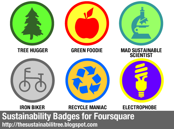 foursquare badges, sustainable themes