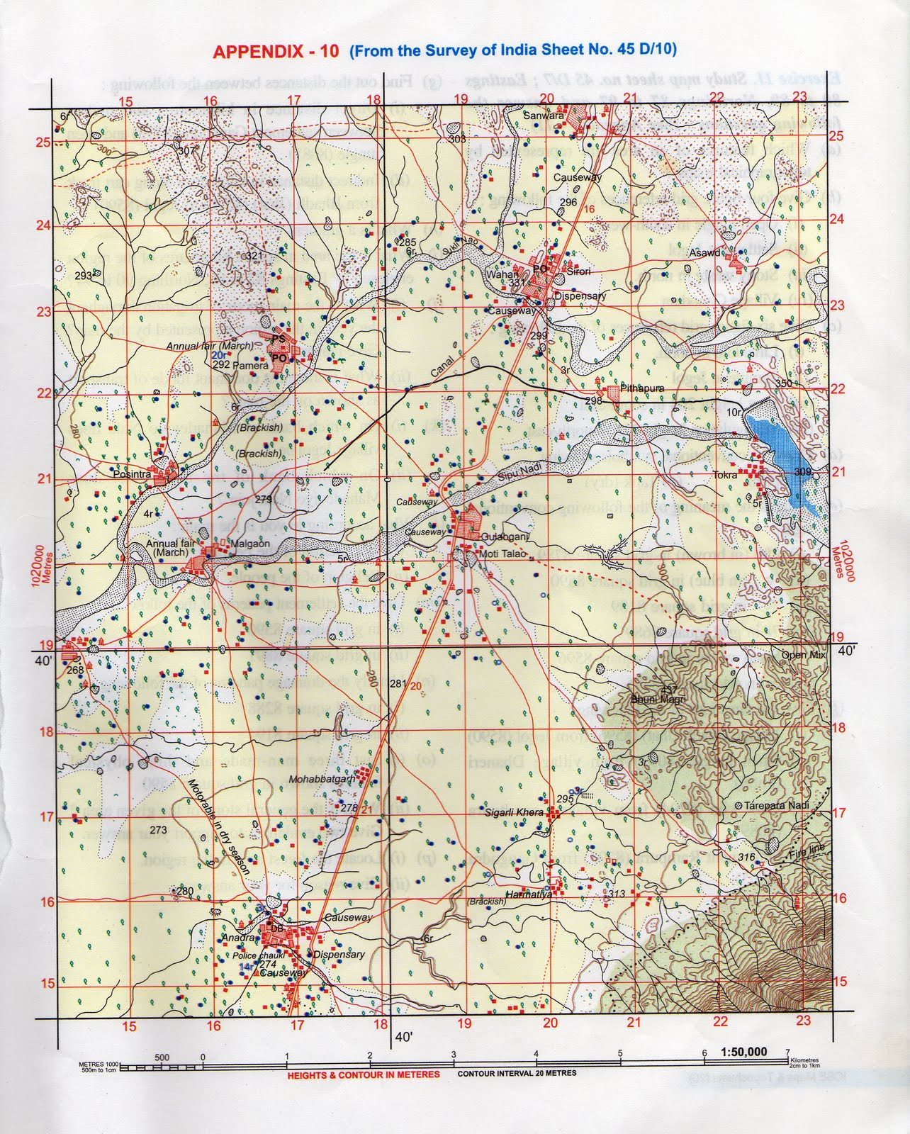 survey of india map sheet no 45d 7