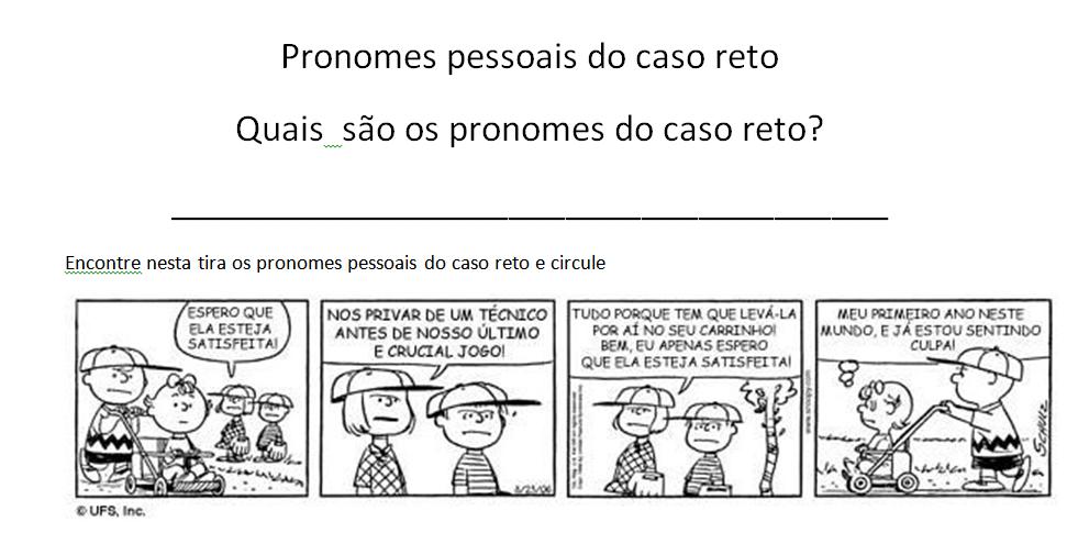 Fabuloso Aprender pela experiência: Atividade com pronomes pessoais do caso  EX22